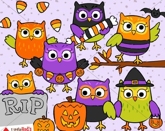 Halloween Owls Clipart  - for personal and commercial use