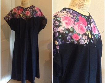 1980s Floral Mesh Bodice Dress // plus size 18 20 22 2X 3X black glam lbd illusion