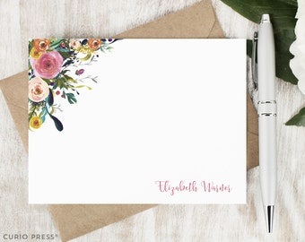 Personalized Pretty Stationary Set / Flat Personalized Notecard / Stationery Note Card Set / Painted Watercolor Flower // MULTI FLOWER II