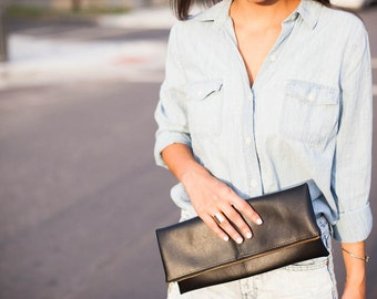 Chic Black Vegan Leather Clutch