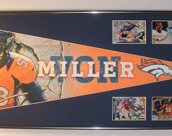 Denver Broncos Von Miller Pennant & Cards..Custom Framed!!