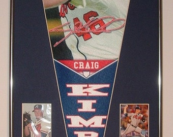 Atlanta Braves Craig Kimbrel Player Pennant & Cards..Custom Framed!!