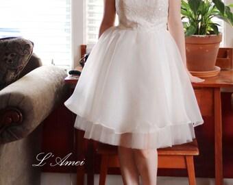 Short Knee Length Ivory Lace Wedding Dress - wedding party dress