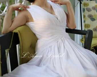 Romantic Custom Made Soft Chiffon Sleeveless Beach Wedding  Dress with Sexy Deep V Neck and Open back dress