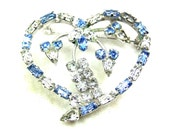 Sterling Blue & Clear Heart Brooch with Flowers in Center, Crystal Glass Rhinestones, Vintage Signed D'OR STERLING