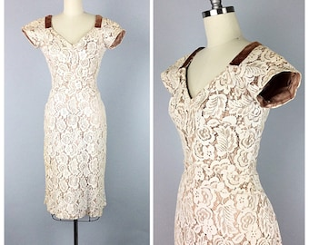 50s Cream Lace Wiggle Dress With Velvet Trim - 1950s Lace Illusion Party Dress With Bustle - Small - Size 6