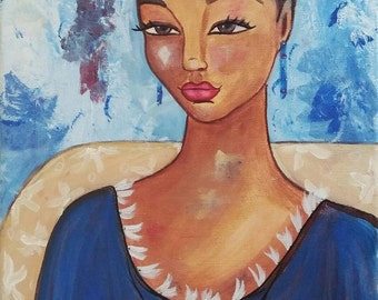 Original 11x14 Modern African American portrait painting ArT