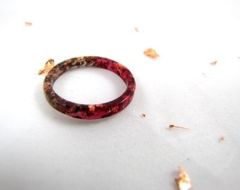 Black to Burgundy Gradient Stacking Resin Rings with Rose Gold Flakes