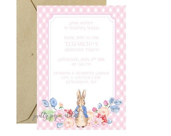 Peter Rabbit Birthday Invitation Girl Pink Gingham floral printable digital