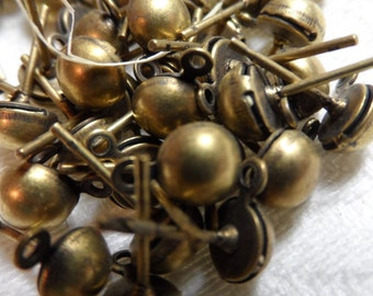 Vintage silver(gold shown)plate brass post balls,36pcs-CMP155