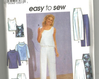 UNCUT 8763 Simplicity Sewing Pattern Tunic Top Pants Shorts Skirt Size 12 14 16
