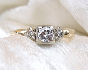 Third of a Carat Bicolor 1930s Solitaire Engagement Ring