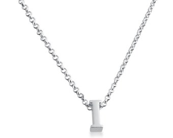 Initial Letter I Personalized Letters Serif Font Charm Pendant Necklace #925 Sterling Silver #Azaggi N0597S_I