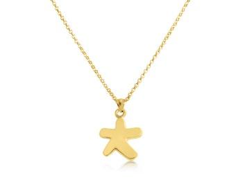 Asterisk Star Celestial Charm Pendant Necklace #14K Gold Plated ovr 925 Sterling Silver #Azaggi N0653G