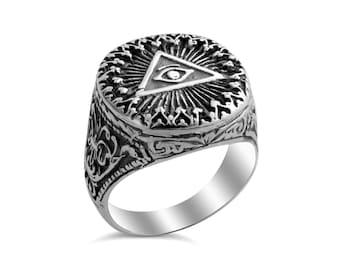Freemason Eye of Providence Pyramid Ring #925 Sterling Silver #Azaggi R0345S