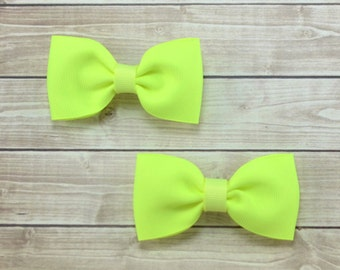 Neon Pigtail Bows, Neon Yellow Pigtail Bows, Neon Hair Clips, Neon Yellow Hair Clips, Neon Yellow Bow Clips, Neon Yellow Clips, Neon Clips