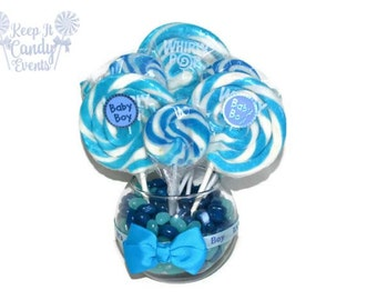 Small Round Blue Lollipop Candy Baby Shower Centerpiece, Blue Baby Shower Decorations, Baby Shower Ideas, Unique Baby Shower Candy Themes
