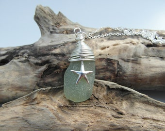 Light Green Cornish Sea Glass with Starfish Charm Necklace ~ Sterling Silver ~ Cornwall