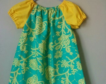 Girls Peasant Style Dress. Lark in Mineral. Size 3.