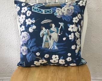 "Designer Fabric P. Kaufmann Summer Palace Throw Pillow Cover Same Fabric Both Sides 18""x18"