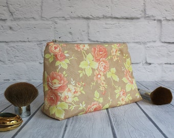 Shabby Cottage Chic Cosmetic Bag with Polka Dot Lining, Rose Toiletry Bag, Zipper Makeup Pouch, Pen and Gadget Accessory Pouch