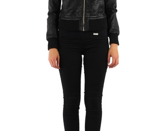 Black Leatherette Bomber.