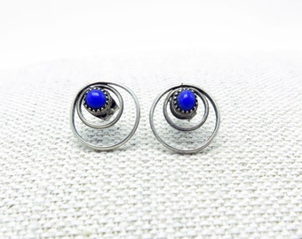 Vintage Silver Concentric Circle Stud Earrings