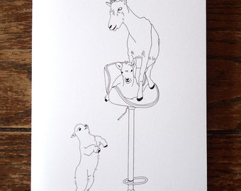 Goat Family Card - baby goats - cute greeting card - funny card - hand drawn - card for all occasions