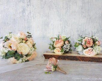 Peonies bouquet bridal bouquet white/ ivory  roses pale pink eucalyptus Snow balls Berries beautiful garden flowers