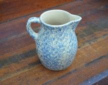 Blue Spongeware Pitcher Small Blue Pitcher RRP Roseville Ohio Pottery Rustic Farmhouse I Ship Internationally