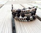 Tahitian Pearls, woman bracelet hippie chic style, stretch bracelet
