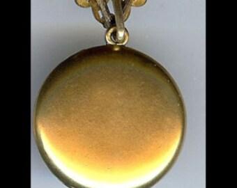 SKM & CO gold fill VICTORIAN lovely lady rhinestones dangle watch pin locket