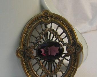 """Fantastic 1910's Era EIF Co. Signed Brass & Amethyst Rhinestone Brooch or Victorian Sash Pin, 2"""""""