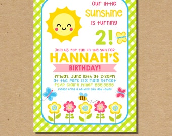 Our Little Sunshine Invitation Sun Kids Birthday Invitation Summer Kids Invitation 1st Birthday Girl Invite Digital File