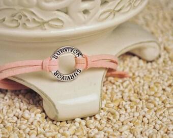 SURVIVOR Bracelet - Affirmation Ring Survivor Bracelet - inscribed survivor inpirational circle ring on cord bracelet