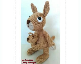 Crochet Mama Kangaroo and Baby Joey Soft Stuffed Amigurumi Toys, Australian Kangaroo Toy,  approx 8in/21cm long and 10in/25cm tall