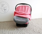 Infant Car Seat Cover - PINK - Baby Carrier Cover - Carseat Cover - Stretchy
