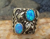 SALE: Size 9 Vintage Southwestern Native American Navajo Sterling Silver Ring with High Grade Created Opals (Oct. Birthstone) Hallmarked