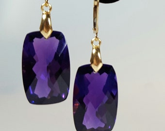 beautiful handmade silver gold plated earrings with large checker board cut amethyst