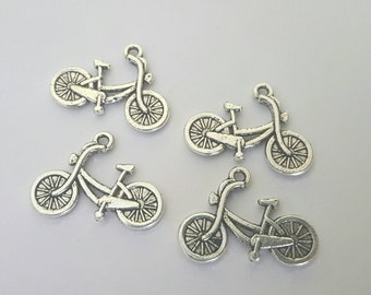 Four Silver Bicycle Charms - Tibetan Silver - bike - trail - outdoors - exercise