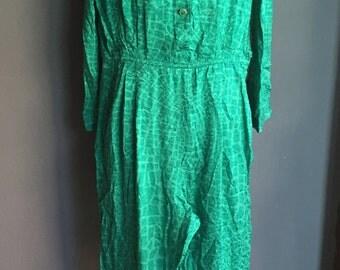 Vintage 80s Silk Jumpsuit Romper Playsuit Overall Sunsuit Mod Glam Green M L SALE