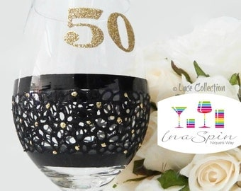 50th Birthday Wine Glass 50th Birthday Black and Gold Party Favors 50th Birthday Gifts For Her 50th Birthday Champagne Glass Black Lace