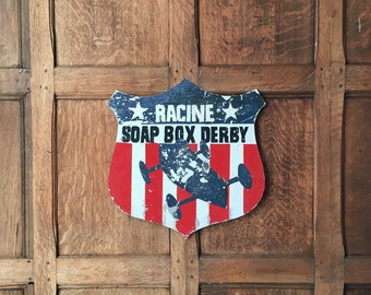 Vintage Soap Box Derby Sign, Metal Racing Sign, Racine, Wisconsin, Soap Box Collectible, Folk Art Sign