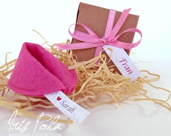 Felt Fortune Cookie, Bridesmaid, Proposal, Fabric, Wedding, Ribbon, Personalised, Secret Message, Paper Box, Recycled, Pink, Purple, Blue