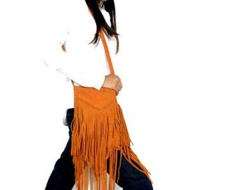 ON SALE Boho fringe bag in orange , Leather fringe purse , Small shoulder bag