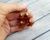 Bruine houten kegel kralen oorbellen / dames sieraden / handgemaakte sieraad / geometrisch ornament / trendy boho Boheemse Afrikaans item