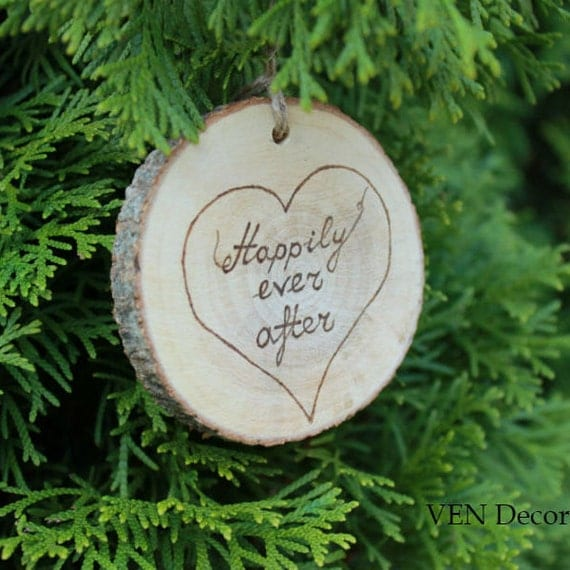 Wood Burned Happily ever after Ornament with Initials, One Year Anniversary Gift, Rustic Wood Wedding Decor, Personalized Wedding Ornament