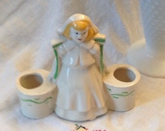 Free Shipping  Dutch Girl Double Planter/Figurine Pottery