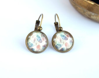 Vintage lever back earrings, pastel leaves cabochon earrings, antique bronze metal earrings
