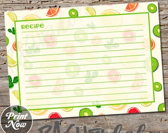 Green Fruit Recipe Card, Printable template, Wedding Shower, lime, lemon, bright, recipe swap, cookbook insert, instant digital download